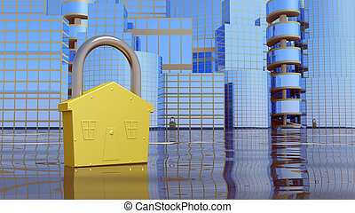 Abstrackt city background - City background with lock....
