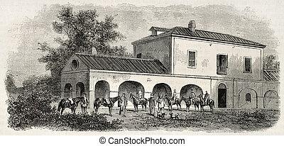Hunting lodge - Old illustration of Ferdinand's IV Bourbon...