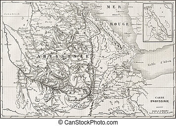 Abyssinia map - Old map of Abyssinia with Red Sea region map...