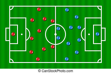 Football formation tactics (blue and red team) on white...