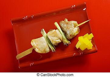 Japanese skewered chicken,Yakitori closeup