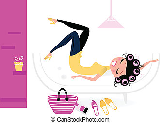 Pretty fashion female relaxing in her room - Female relaxing...