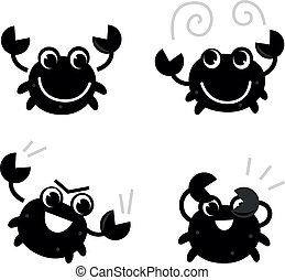 Cute black crab set isolated on white - Crab in different...