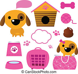 Cute dog accessories collection isolated on white - Cartoon...