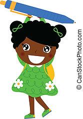 Little cute dark skin girl holding pen isolated on white