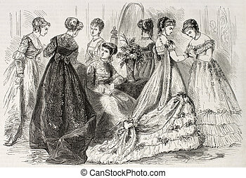 Fashion 1868 - Old illustration of evening and dance wear in...