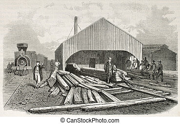 Railway sleepers preparing - Old illustration of railway...
