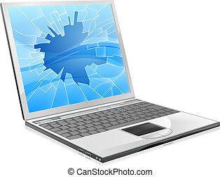 Laptop with broken screen - An illustration of a laptop with...