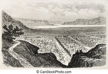 Salt Lake City - Old view of Salt Lake City, Utah. Created...