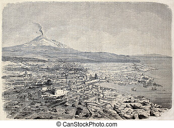 Catania - Antique illustration shows aerial view of Catania,...