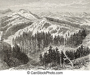 Sierra Nevada - Old illustration of Sierra Nevada, USA...