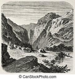 Laramie river - Old illustration of Laramie river, Wyoming....