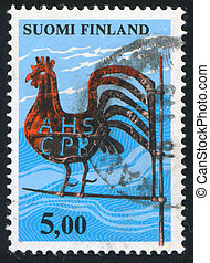 Kirvu Weather Vane - FINLAND - CIRCA 1975: stamp printed by...