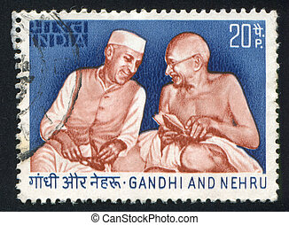 Nehru and Gandhi - INDIA - CIRCA 1973: stamp printed by...