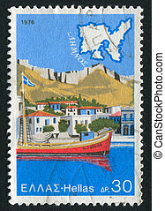 Sea port - GREECE - CIRCA 1976: stamp printed by Greece,...