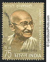 Mahatma Gandhi - INDIA - CIRCA 1969: stamp printed by India,...