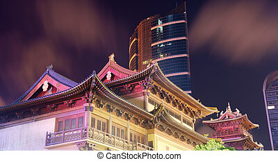 Shanghai Jingan Temple - Night view in Jingan Temple in...