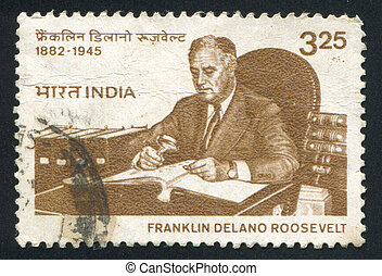 Franklin Roosevelt - INDIA - CIRCA 1983: stamp printed by...