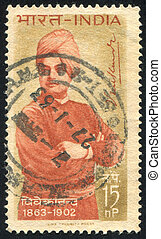 Swami Vivekananda - INDIA - CIRCA 1962: stamp printed by...