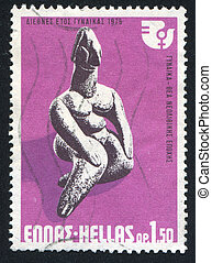 Neolithic Goddess - GREECE - CIRCA 1975: stamp printed by...