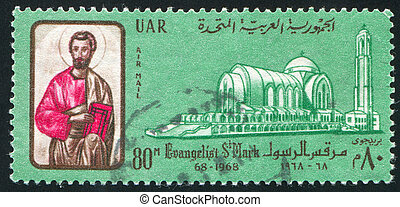 Mark Evangelist - EGYPT - CIRCA 1968: stamp printed by...