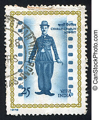 Charlie Chaplin - INDIA - CIRCA 1978: stamp printed by...
