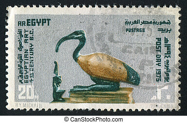 Goddess Maat Facing God Thoth - EGYPT - CIRCA 1974: stamp...