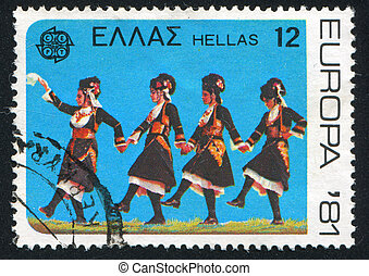 Folk Dance - GREECE - CIRCA 1981: stamp printed by Greece,...