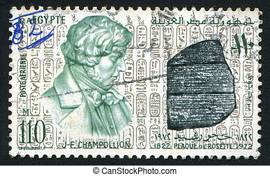 Rosetta Stone - EGYPT - CIRCA 1972: stamp printed by Egypt,...