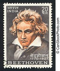 Ludwig van Beethoven - INDIA - CIRCA 1970: stamp printed by...