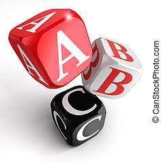 a b and c letters on red white black box