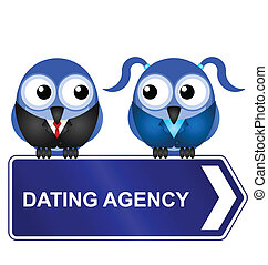 dating agency - Comical dating agency sign isolated on white...