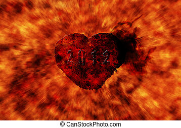 Burning heart with flame effect and zoom in flame...