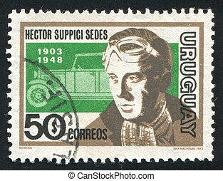 Hector Suppici Sedes and Car - URUGUAY - CIRCA 1974: stamp...