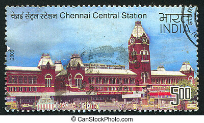 Chennai Central station - INDIA - CIRCA 2009: stamp printed...
