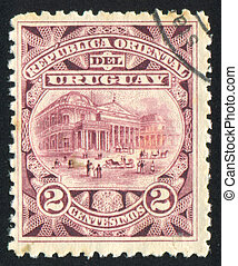 Solis Theater - URUGUAY - CIRCA 1897: stamp printed by...