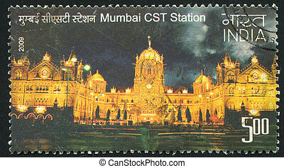 Mumbai CST station - INDIA - CIRCA 2009: stamp printed by...