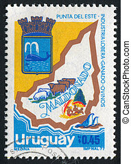 Arms and Map - URUGUAY - CIRCA 1979: stamp printed by...