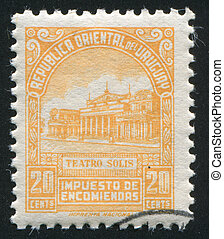 Solis Theater - URUGUAY - CIRCA 1953: stamp printed by...