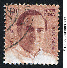 Rajiv Gandhi - INDIA - CIRCA 2000: stamp printed by India,...