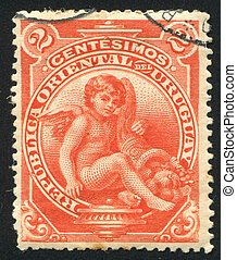 Eros and Cornucopia - URUGUAY - CIRCA 1901: stamp printed by...