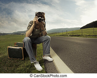 Travel - A woman photographer on the side of the roadCopy...