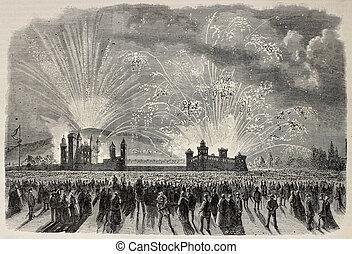 Turin fireworks - Old illustration of fireworks show in...