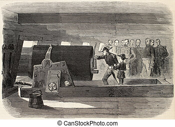 Cannon breech - Admiral dHornoy showing cannon breech of La...
