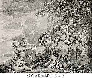 Bacchus feast - Antique illustration depicting Bacchus...