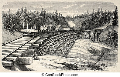 Trestle Viaduct - Old illustration of a trestle viaduct...