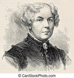 Stanton - Old engraved portrait of Elisabeth Cady Stanton,...
