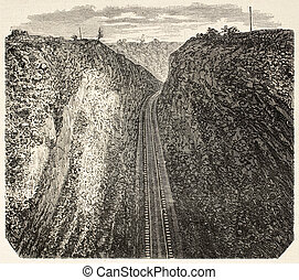 Bloomer cutting - Old illustration of a Bloomer along Union...