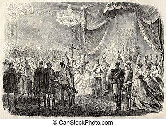 Princess christening - Old illustration of Princess Marie...