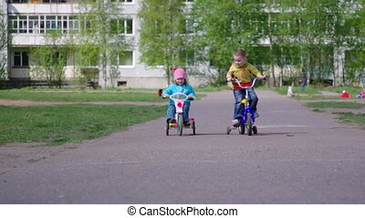 Children with bicycles